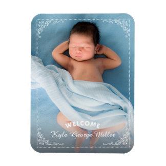 Faire-part de naissance fleuri élégant d'accueil magnet rectangulaire avec photo