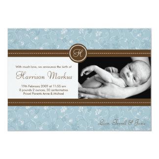faire-part de naissance floral bleu de photo du carton d'invitation  12,7 cm x 17,78 cm
