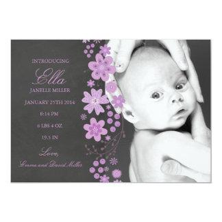 Faire-part de naissance floral pourpre de tableau carton d'invitation  12,7 cm x 17,78 cm