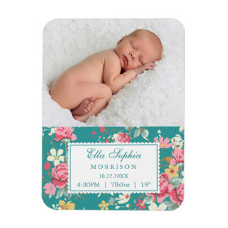 Faire-part de naissance floral vintage de photo de magnets rectangulaires