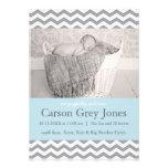 Faire-part de naissance gris de bébé de Chevron |