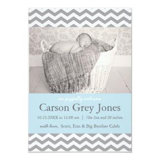 Faire-part de naissance gris de bébé de Chevron  