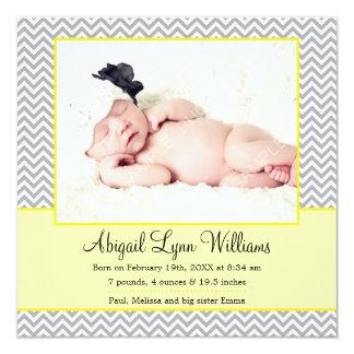 Faire-part de naissance gris jaune de photo de carton d'invitation  13,33 cm