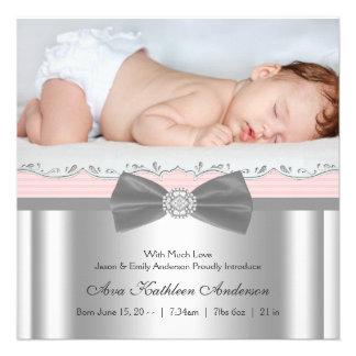 Faire-part de naissance gris rose de photo de bébé