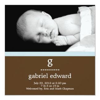 Faire-part de naissance initial doux de bébé carton d'invitation  13,33 cm