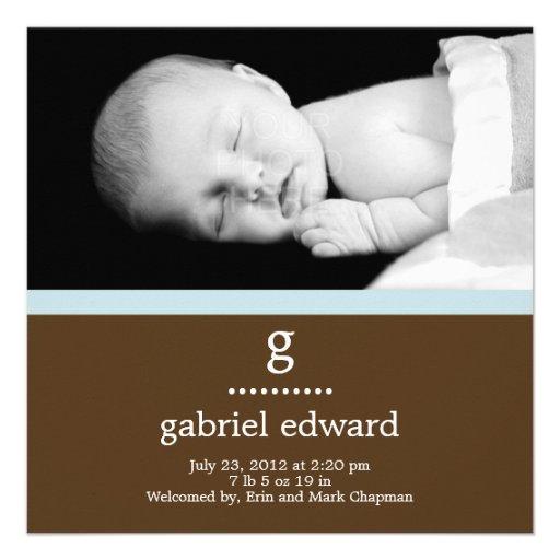 Faire-part de naissance initial doux de bébé