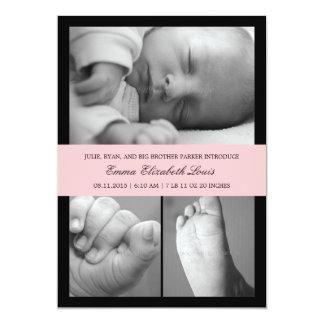 Faire-part de naissance intemporel de bande - rose