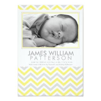 Faire-part de naissance jaune et gris de bébé de carton d'invitation  12,7 cm x 17,78 cm