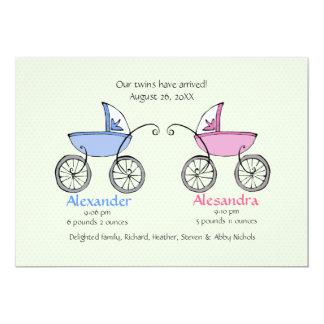 Faire-part de naissance jumeau de bébé de chariots