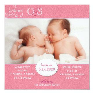 Faire-part de naissance jumeau rose de photo de