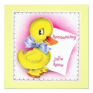 Faire-part de naissance mignon de bébé de canard carton d'invitation  13,33 cm