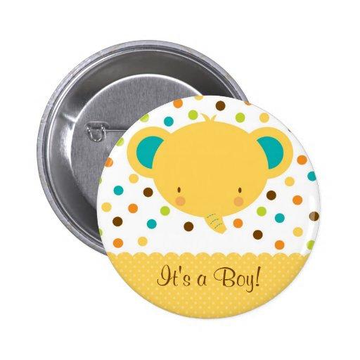 Faire-part de naissance mignon d'éléphant c'est un badge avec épingle