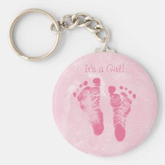 Faire-part de naissance mignon d'empreintes de pas porte-clé rond