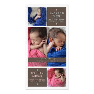 Faire-part de naissance moderne de fille de garçon photocarte customisée