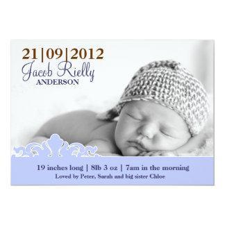 Faire-part de naissance moderne de photo de bébé carton d'invitation  12,7 cm x 17,78 cm