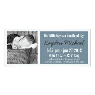 Faire-part de naissance moderne de photo de bébé carton d'invitation  10,16 cm x 23,49 cm