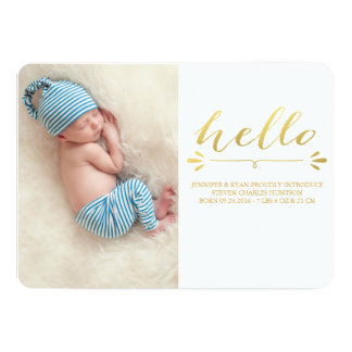 FAIRE-PART DE NAISSANCE MODERNE PHOTOCARD D'OR