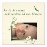 Faire-part de naissance muguet et fée felt carton d'invitation  13,33 cm
