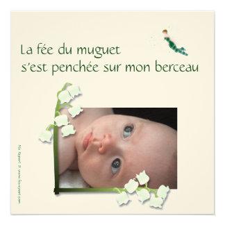Faire-part de naissance muguet et fée felt