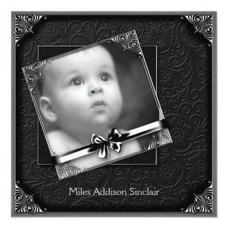 Faire-part de naissance noir élégant de photo de
