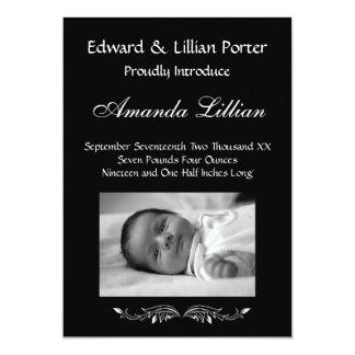 Faire-part de naissance noir et blanc de bébé carton d'invitation  12,7 cm x 17,78 cm