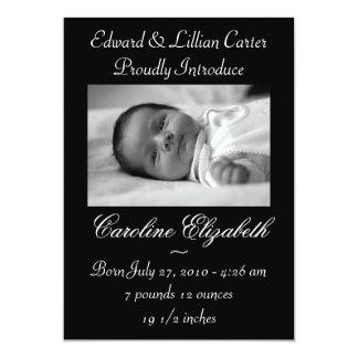Faire-part de naissance noir et blanc de photo carton d'invitation  12,7 cm x 17,78 cm