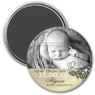 faire-part de naissance noir floral de Paisley de  Magnets Pour Réfrigérateur
