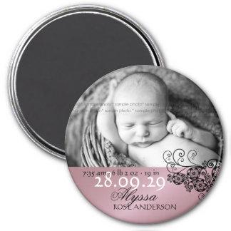 faire-part de naissance noir floral de Paisley de Magnet Rond 7,50 Cm