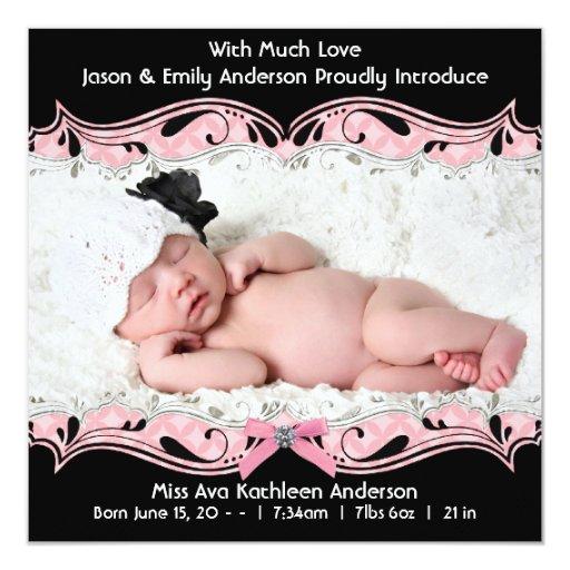 Faire-part de naissance noir rose de bébé de photo