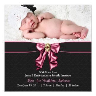 Faire-part de naissance noir rose de photo de bébé