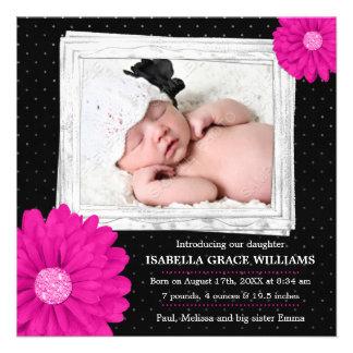 Faire-part de naissance noir rose de photo de fill