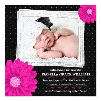 Faire-part de naissance noir rose de photo de carton d'invitation  13,33 cm