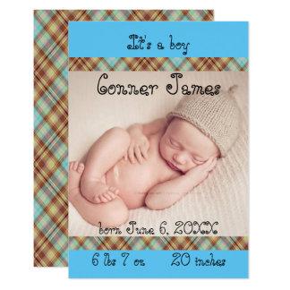 faire-part de naissance nouveau-né bleu de plaid