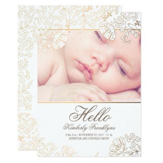 Faire-part de naissance nouveau-né floral de photo