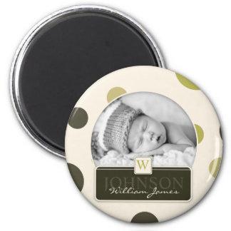 Faire-part de naissance olive d'impression de poin magnet rond 8 cm