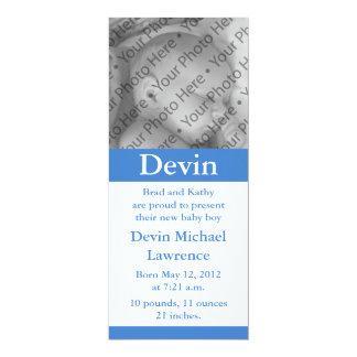Faire-part de naissance ou invitation bleu fait carton d'invitation  10,16 cm x 23,49 cm