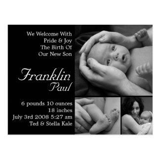 Faire-part de naissance personnalisable customisé carte postale
