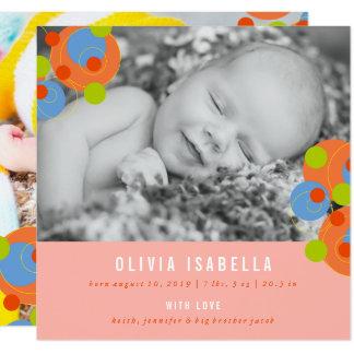 Faire-part de naissance pétillant de photo de bébé