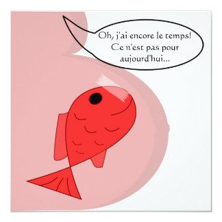 """Faire-part de naissance """"poisson d'avril"""" blanc"""