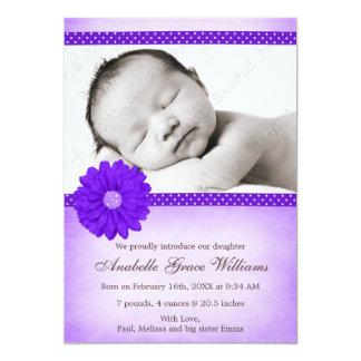 Faire-part de naissance pourpre de photo de fille