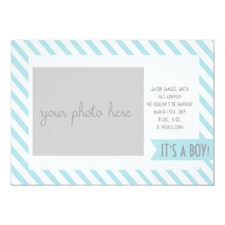 Faire-part de naissance rayé bleu carton d'invitation  12,7 cm x 17,78 cm