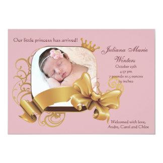 Faire-part de naissance rose carré royal de photo