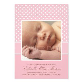 Faire-part de naissance rose de à petits pois de carton d'invitation  12,7 cm x 17,78 cm