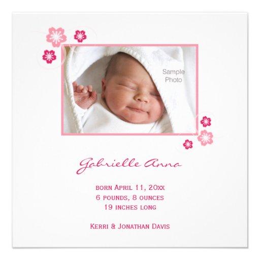 Faire-part de naissance rose de bébé de Sakura