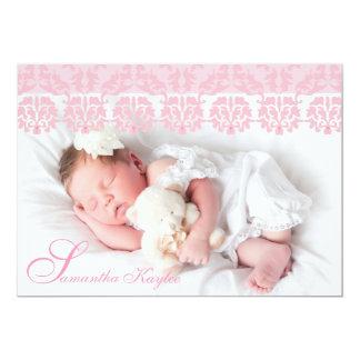 Faire-part de naissance rose de dentelle de photo