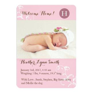 Faire-part de naissance rose de petite fille