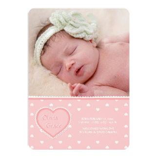 Faire-part de naissance rose de photo d'amoureux