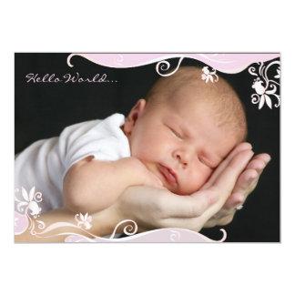 Faire-part de naissance rose de photo de caresse
