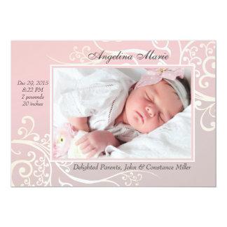 Faire-part de naissance rose de photo de douceur