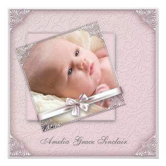 Faire-part de naissance rose de photo de fille de